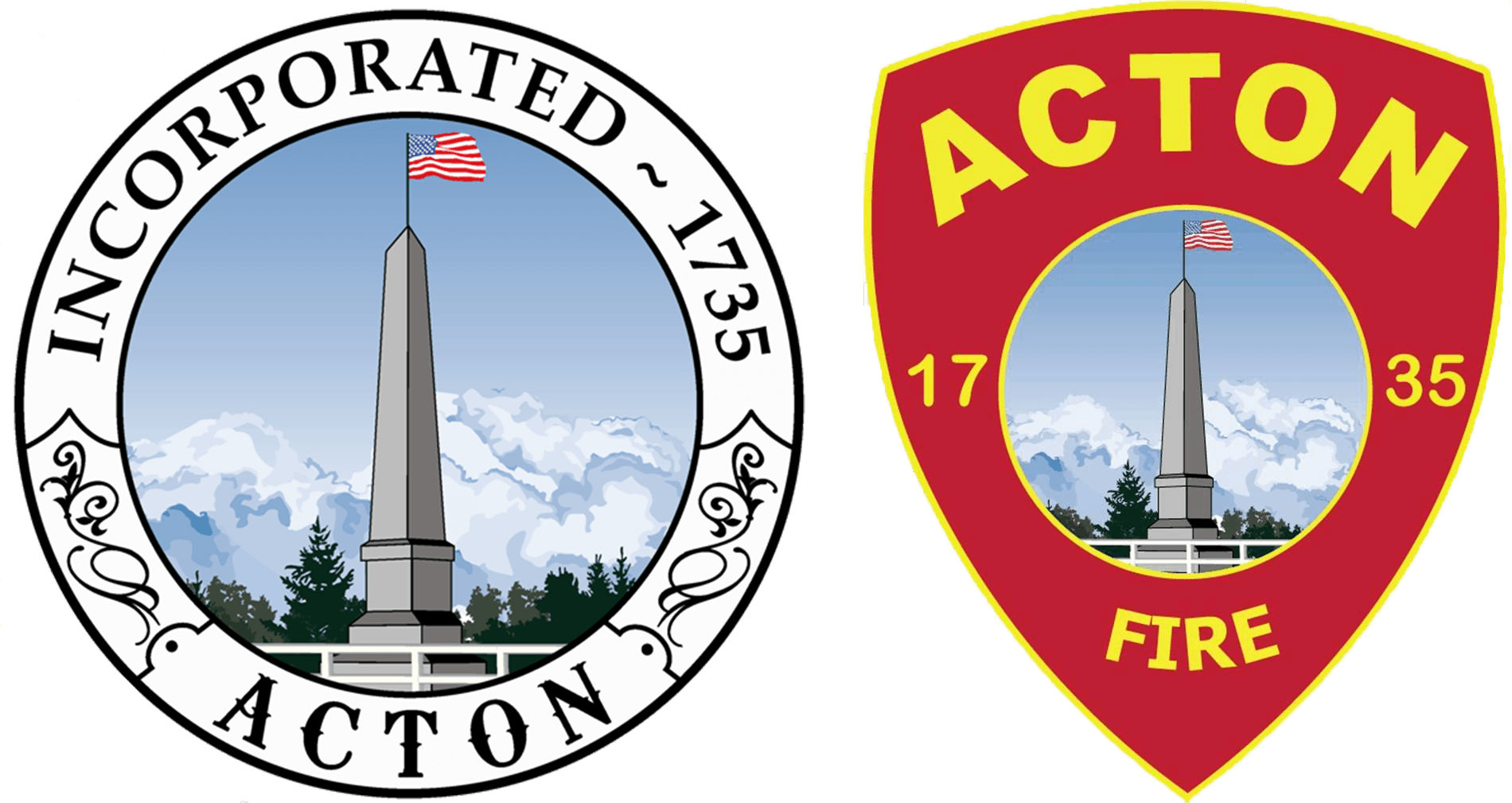 Acton Fire and Town Seal Side-by-Side