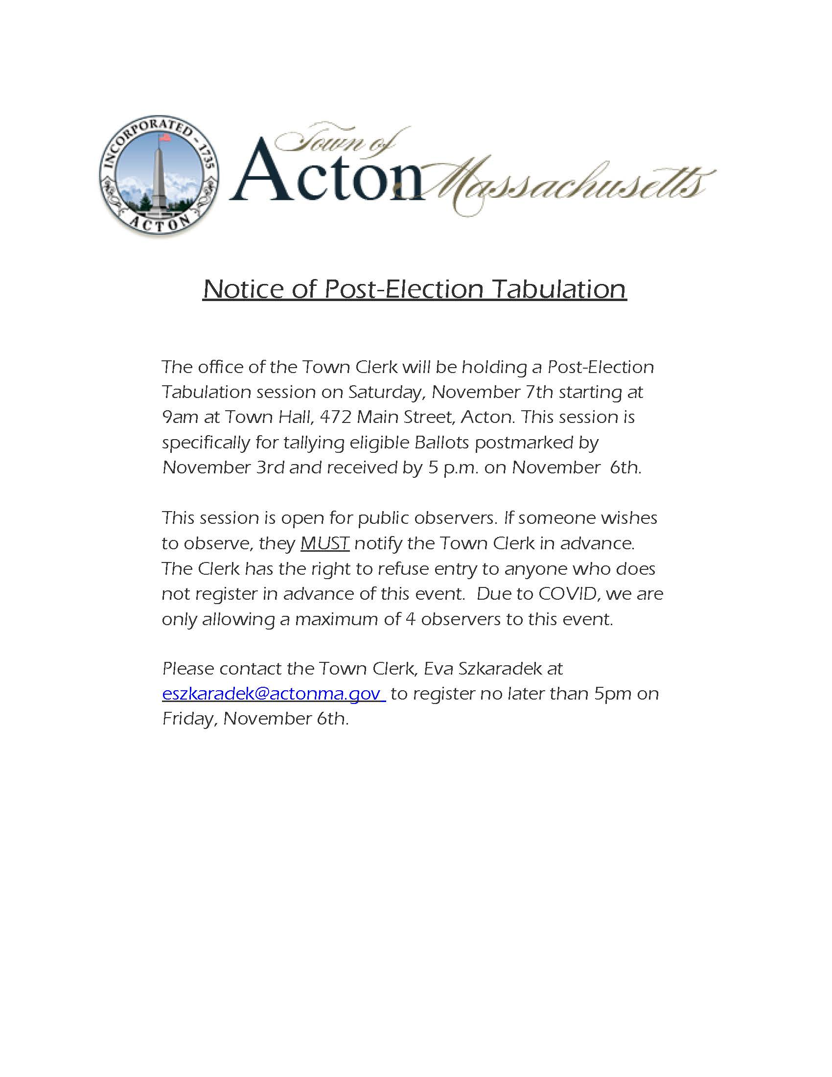 Notice of Post Election Tabulation